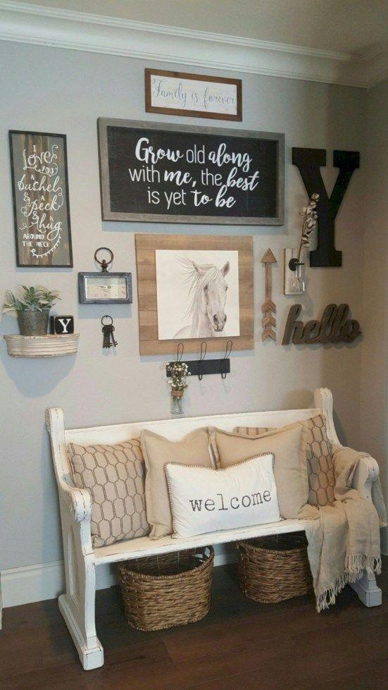 43 Amazing Farmhouse Entryway Decoration Ideas Living Room