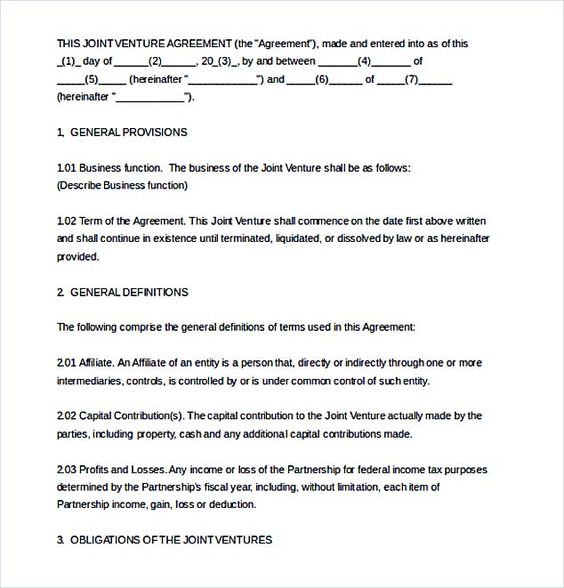 Sample Joint Venture Agreement Collaboration By DigitalPublishing   Joint  Venture Sample