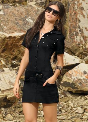 Mini Vestido Preto em Sarja com Botões - Posthaus