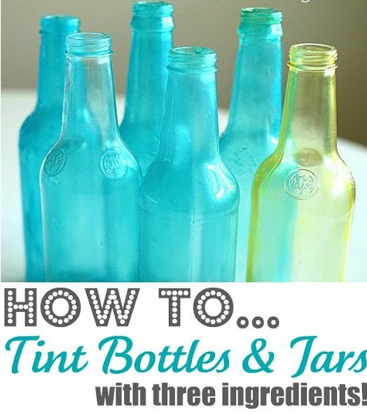 Tinting Bottles & Jars Tutorial    Here is one of my favorite, SIMPLE Craft/Decor tips...  How to Tint Bottles and Jars with Mod Podge, Water and Food Coloring!     My sweet hubby started his new job today after having a month off....  although his time off was some of the best days EVER for our family,   without a doubt he was ready to jump back i