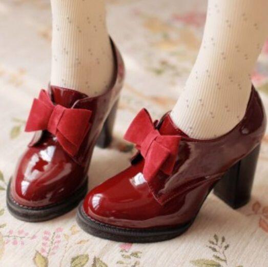 Z Womens High Block Heel Pumps Bowknot Lolita Retro Vintage Shoes Mary Janes4-10