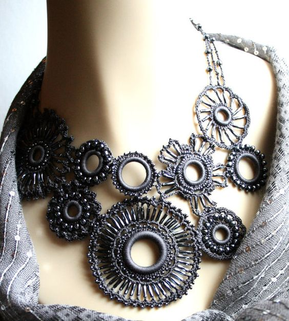 Crochet Charcoal Medallion Beaded Asymetrical Fiber di KnotTherapy