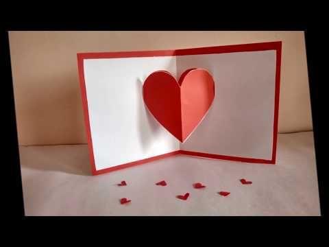 Heart Pop Up Card By Zainab Youtube Pop Up Valentine Cards Diy Valentines Cards Heart Pop Up Card