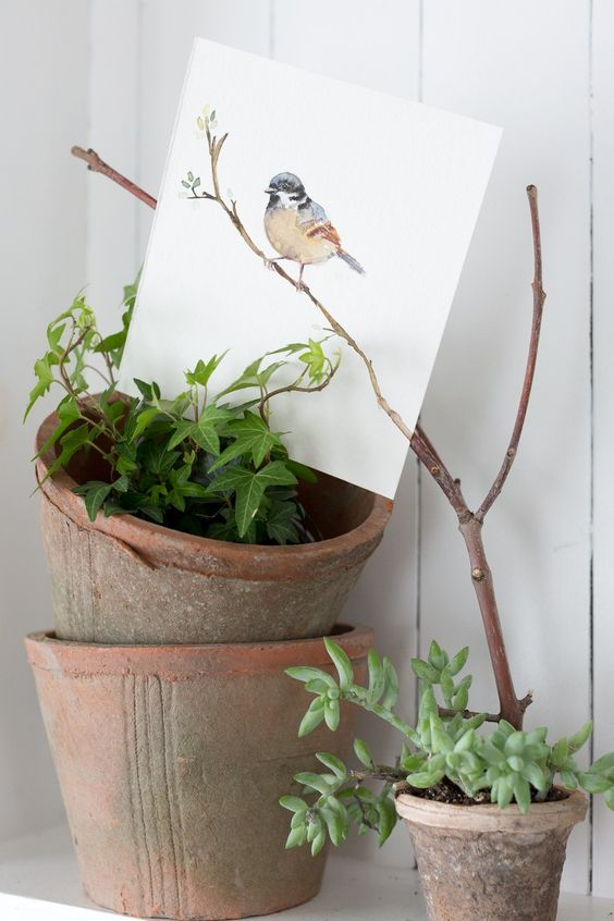 Simple but clever vignette: Spring Bird Watercolor Printable and stacked pots