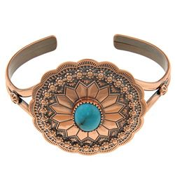 @Overstock - Set in copper, this bracelet features a round concho design with a turquoise cabochon in the center. The cuff showcases an antiqued finish and offers easy slip-on styling.http://www.overstock.com/Jewelry-Watches/Southwest-Moon-Copper-Turquoise-Accent-Cuff-Bracelet/5971445/product.html?CID=214117 $35.99