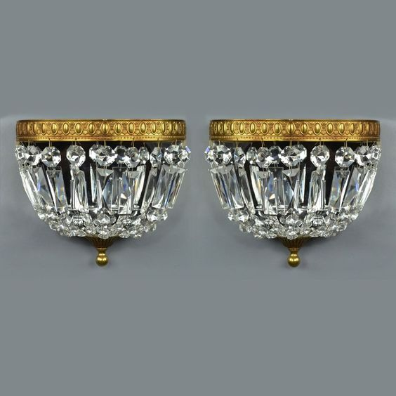 Pair Brass & Crystal Wall Sconces Vintage Antique Gold Ornate Italian Lights