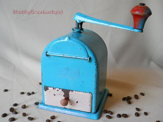 German 1930s teal tin quality coffee grinder, hand coffee mill, forged steel grinder for coffee beans, fit for use, shabby chic hand mill
