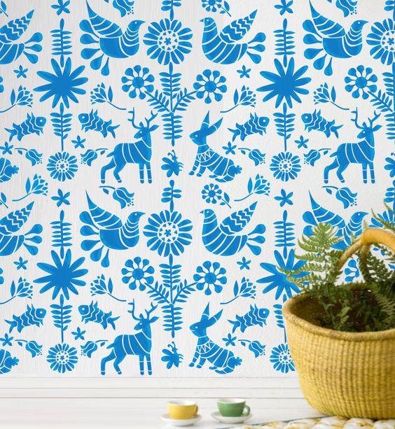 Wall Stencil Kids Room Mexican Otomi Pattern Wall Room