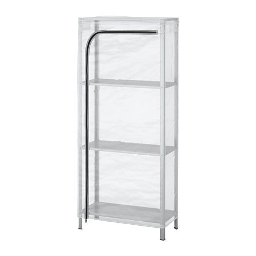 Hyllis Shelving Unit With Cover Transparent 60x27x140 Cm Ikea Shelving Unit Ikea Outdoor Shelves