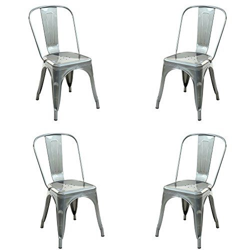 Stackable Chairs Set Of 4 Vintage Armless Dining Chair Metal Cafe S Bistro S Kitchen Tapering Legs Curved Base With Pierced De With Images Metal Dining Chairs Indoor Chairs