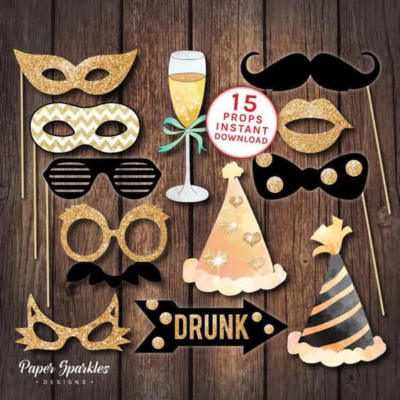 Photo booth props, printable props, black and gold props, new years eve party, printable party props, printable glasses, wedding props: