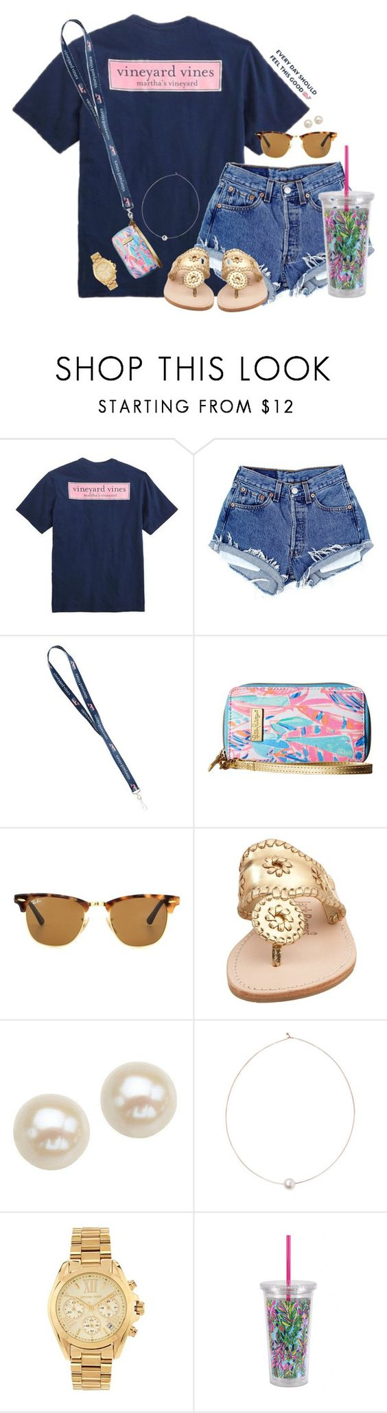 """I really want to go to New York City"" by aweaver-2 on Polyvore featuring Vineyard Vines, Lilly Pulitzer, Ray-Ban, Jack Rogers, Honora, Shop Latitude Bazaar and Michael Kors"