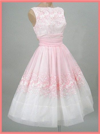60's Embroidered Pink Chiffon Party Dress