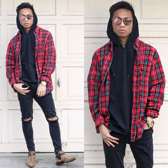 Hawker's Co Sunglasses, Fear Of God Plaid Shirt, Urban Outfitters Short Sleeve Hoodie, Zara Ripped Jeans, Asos Chelsea Boots styled by Paul Zedrich in Fear of G O D.—see looks like this and more on LOOKBOOK.