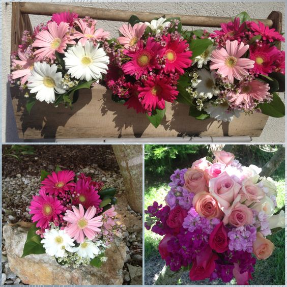 Ombré bridesmaid and bride bouquet in shades of pink to fuchsia.  www.myfloralimpressions.con