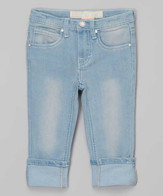 Look what I found on #zulily! Free Planet Light Wash Heart-Pocket Cropped Jeans - Girls by Free Planet #zulilyfinds