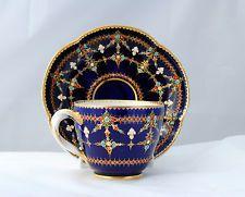 Raro 18thc Sevres Xícara de porcelana de jóias e Pires por Prévost henri-martin, Gilder