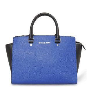 NWT Michael Kors Selma Handbag Large Colorblock Leather Satchel Sapphire Blue & Black