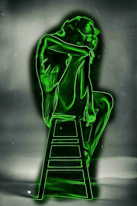 Girl sitting on a ladder green neon light art