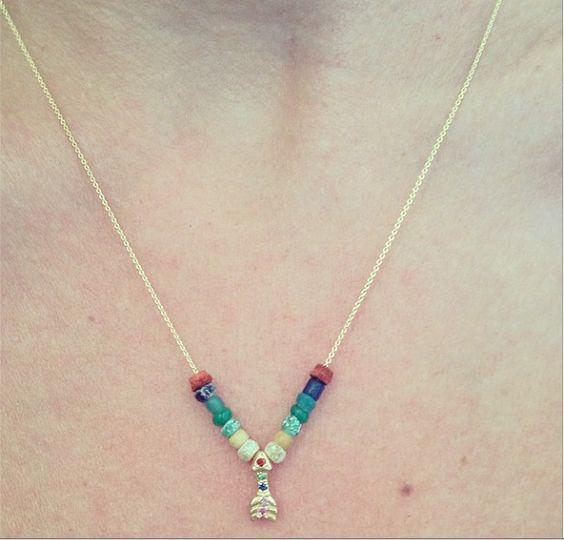 Elisa Solomon Jewelry 18 karat yellow gold small rainbow arrow necklace with rainbow ancient beads