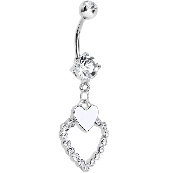 Crystalline Gem Paved Hollow and White Heart Dangle Belly Ring