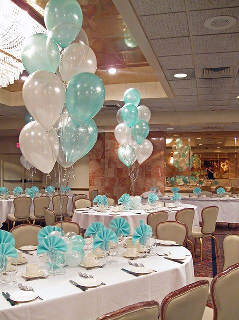 Tiffany blue white balloon centerpieces with