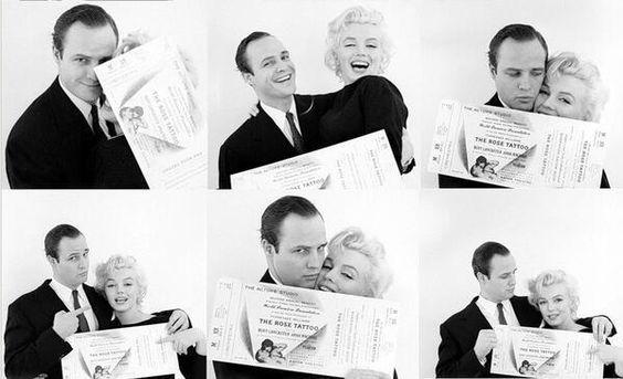 Marilyn Monroe and Marlon Brando, c. 1955.
