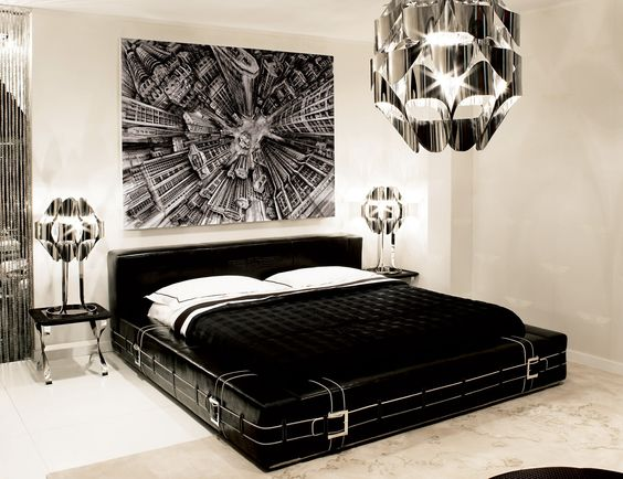 Hollywood Luxe Belted Black Leather Bed More Luxury Hollywood Interior Design Inspirations To Pin, Share & Inspire @ InStyle-Decor.com Beverly Hills (Use Our Red Pinterest Speed Pin Button Top Of Each Page Happy Pinning)