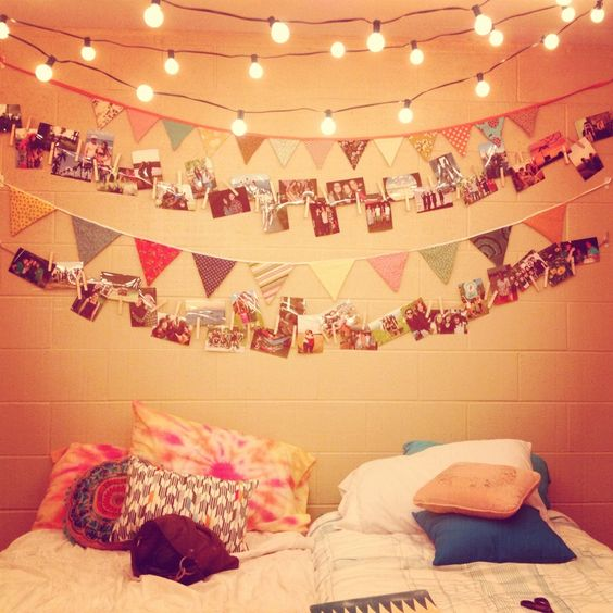 Hang some string and use clothes pins. Plus you can make all of the triangles and the lights ...