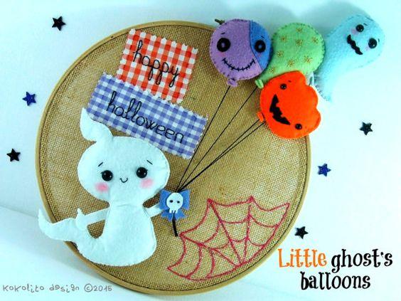 Los globos del pequeño fantasma. Halloween. Decoración. Dreamgarden Collection
