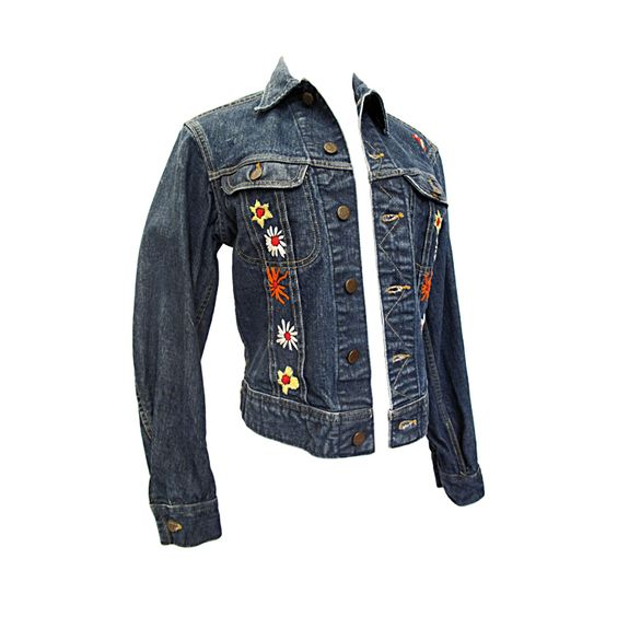 VINTAGE LEE Denim Jacket with Floral Embroidery | See more vintage Jackets at http://www.1stdibs.com/fashion/clothing/jackets in 1stdibs