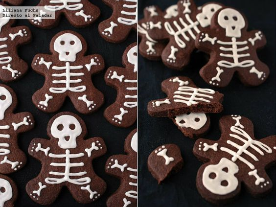 Esqueletos de chocolate. Receta de galletas para Halloween