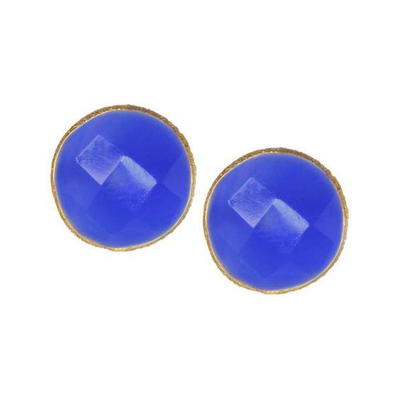 Women's SAACHI 18K Gold Plated Mini Stud Gemstone Earrings Stud... (€44) ❤ liked on Polyvore featuring jewelry, earrings, dark blue chalcedony, 18k gold plated earrings, gemstone stud earring sets, dark blue earrings, gemstone jewelry and gem jewelry