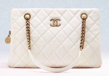 Chanel White CC Crown Medium Shopping Bag from Cruise 2013
