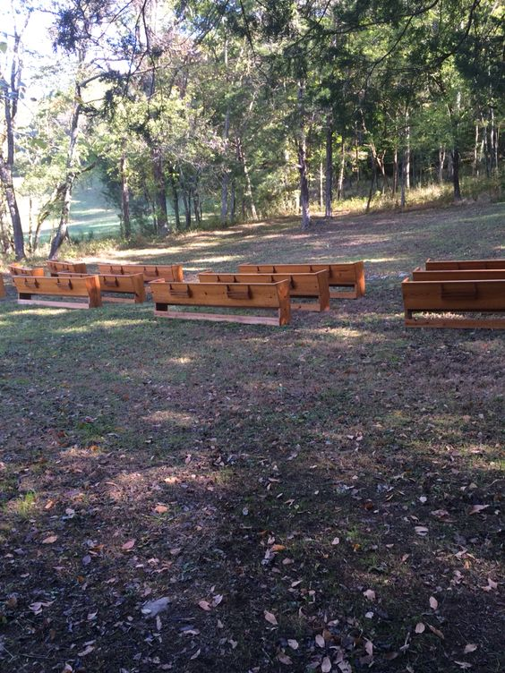 Our pews set up in the Canopy area.