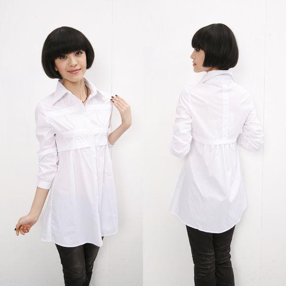 New arrival 2013 autumn plus size clothing 100% cotton womens shirt slim medium-long long-sleeve white shirt