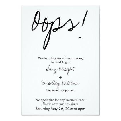 """Oops!"" Humorous Postponed Wedding Announcement - #weddinginvitation cards custom invitation card design marriage party"
