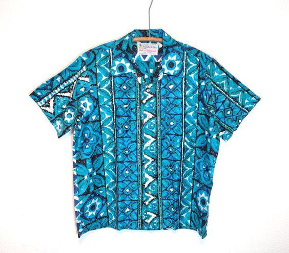 60's vintage / reyn's men's wear / hawaiian shirt / blue hawaii / tiki party / mod print