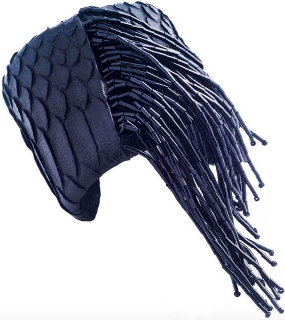 Calixte black snake cuff with black beaded fringe.