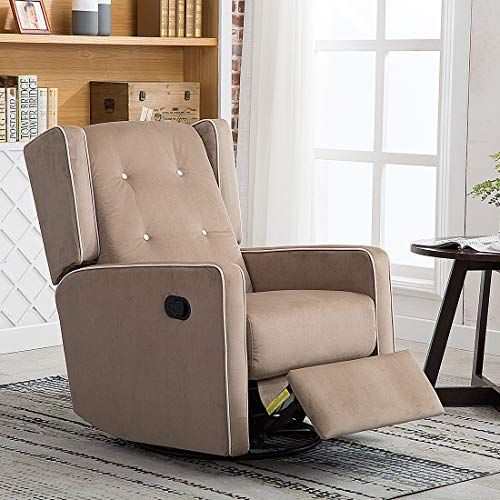 Canmov Microfiber Swivel Rocker Recliner Living Room Chair Soft Fabric With Single Seat Manual Rec Living Room Chairs Leather Chair Living Room Recliner Chair