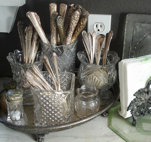 Vintage Silverware displayed in Antique Crystal ~ Nice having things I love out to enjoy