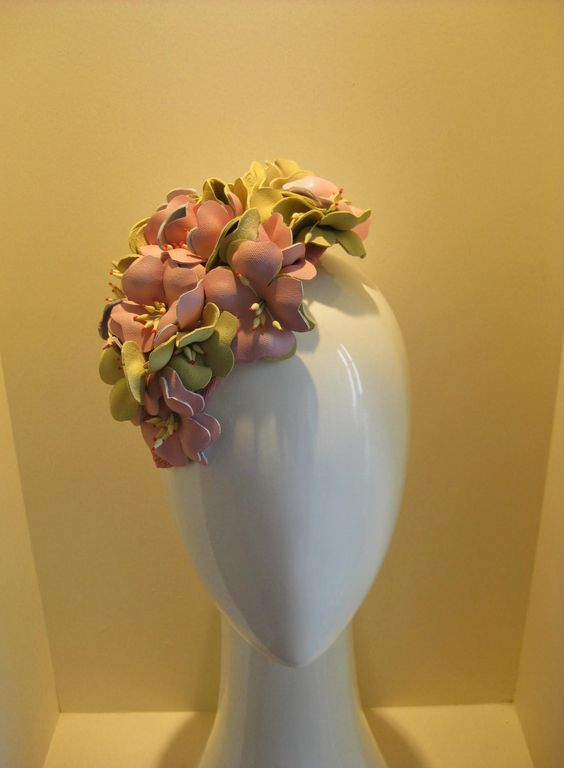 Cherry Blossoms in leather by Jill and Jack Millinery