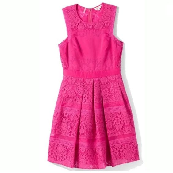Rebecca Taylor hot pink lace dress size 6 Get this amazing Rebecca Taylor patch lace hot pink dress  Brand New with tags  Size 6  Retails $695  Get it here for a fraction of the price.   Delicate tonal lace and crisp organza lead tactile appeal to a ladylike Rebecca Taylor dress. The vintage style cut has pleated skirt and fitted bodice truly stunning! Rebecca Taylor Dresses Midi