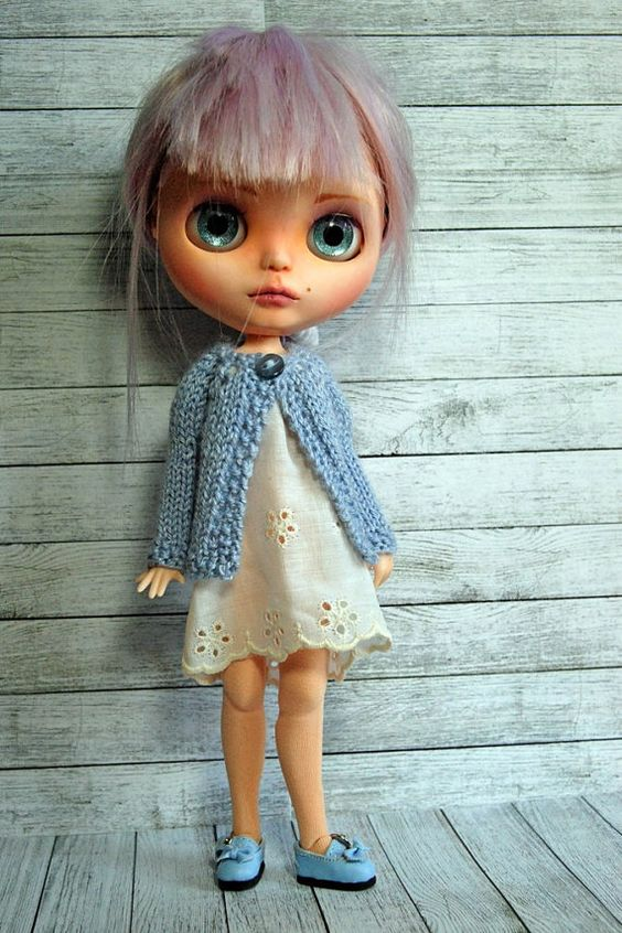 Blythe Doll Knitted Alpaca and Silk Blend Blue by AuntieShrews