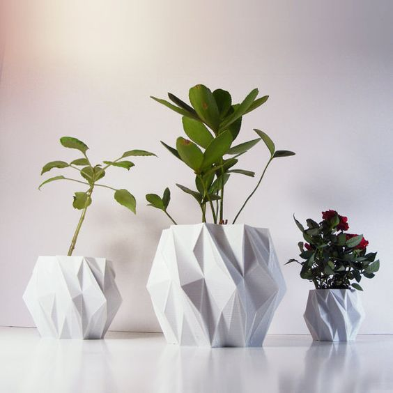 Polygon Plant Pot, 3D Printed Geometric Pots Modern Art, Plastic Indoor Planter, Math Inspired Contemporary Decor, EleMental 5 inch: