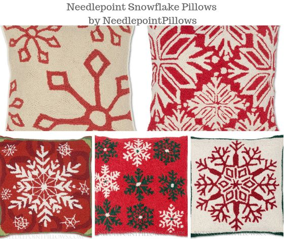 Needlepoint Snowflake Pillows by NeedlepointPillows