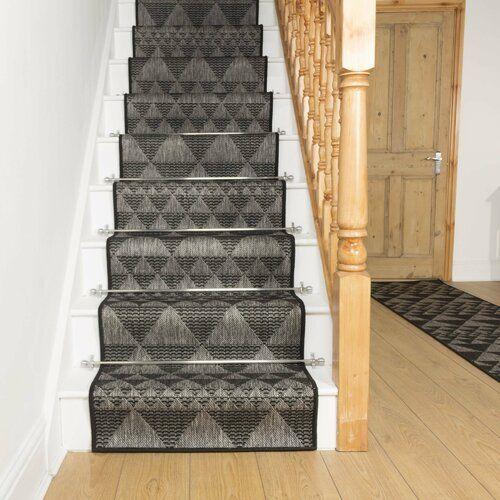 Abrahamson Looped Black Stair Runner Union Rustic Rug Size Runner 690cm X 80cm Outdoor Carpet Black Stairs Indoor Outdoor Carpet