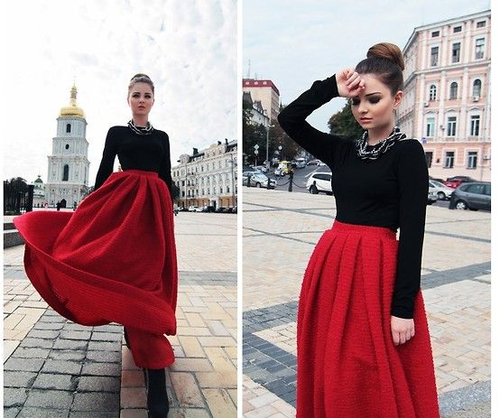 Zeliha's Blog: Maroon Pleated Maxi Skirt Top Black *stunning ...