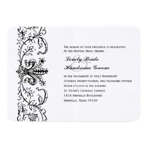 Black White Fleur Catholic Wedding Invitation Catholic Wedding