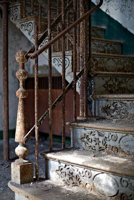 Neat iron staircase at the abandoned Weston State Hospital in West Virginia.  Love the detail!: